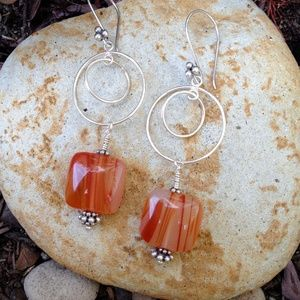 Sterling Silver Red Veined Polished Quartz Earings